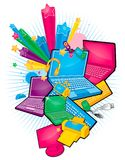 Productos electrónicos stock de ilustración