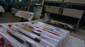 Productos finales en la fábrica del papel pintado, papel pintado, desarrollo de los papeles pintados del transportador almacen de metraje de vídeo