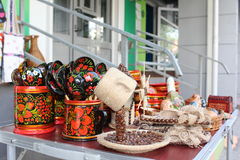 Productos hechos a mano en la tabla Foto de archivo libre de regalías