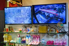 Productos japoneses en el colmado fotografía de archivo libre de regalías