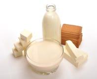 Productos lácteos fotos de archivo