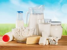 Productos lácteos fotografía de archivo