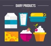 Productos lácteos ilustración del vector