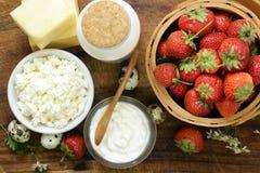 Productos lácteos aún de la vida rústica - requesón, crema agria Imagen de archivo libre de regalías