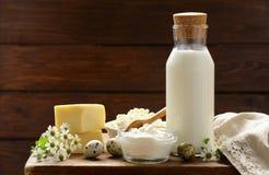 Productos lácteos aún de la vida rústica - requesón, crema agria, queso Fotografía de archivo libre de regalías