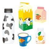 Productos lácteos aislados Imágenes de archivo libres de regalías