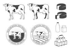 Productos lácteos fijados Fotografía de archivo
