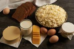 Productos lácteos hechos en casa Fotografía de archivo libre de regalías