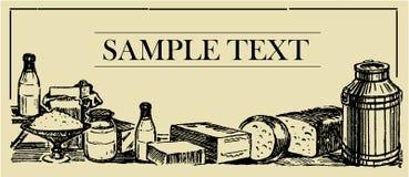 Productos lácteos - tarjeta de la muestra Foto de archivo libre de regalías