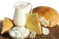 Productos lácteos y pan Imagen de archivo libre de regalías
