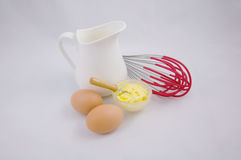 Productos lácteos de la mantequilla de los huevos e ingrediente de la hornada Fotografía de archivo