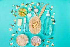 Productos nacionales naturales para el skincare Avena, aceite, jabón, despedregadora facial foto de archivo libre de regalías