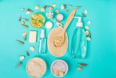 Productos nacionales naturales para el skincare Avena, aceite, jabón, despedregadora facial imagen de archivo libre de regalías