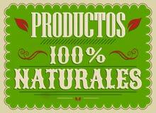 Productos 100% Naturales, español de los productos naturales del 100% manda un SMS Imagen de archivo