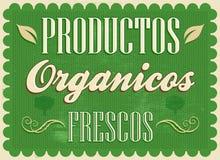 Productos organicos frescos - Fresh organic products spanish text. Vintage Farm Fresh Poster. Vector illustration stock illustration