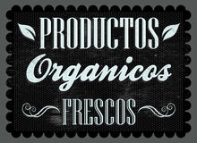 Productos organicos frescos - Fresh organic products spanish text Stock Image