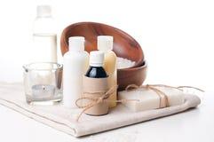 Productos para el balneario, el cuidado de la carrocería y la higiene Fotografía de archivo