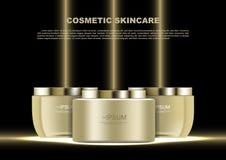 Productos para el cuidado de la piel con los haces de oro en vector negro del fondo libre illustration