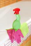 Productos para los cuartos de baño de la limpieza del hogar Imagen de archivo