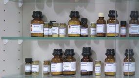 Productos químicos en las botellas de cristal Fotografía de archivo libre de regalías