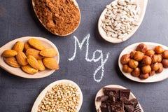 Productos ricos en magnesio Imagen de archivo