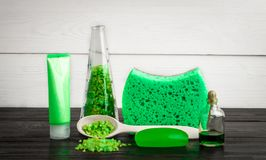 Productos verdes del tratamiento de la belleza de la composición en colores verdes: champú, jabón, sal de baño, aceite Fotos de archivo libres de regalías