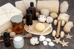 Productos y accesorios naturales del balneario Foto de archivo