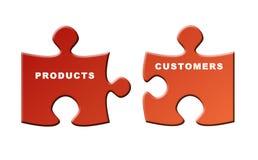 Productos y clientes Imagen de archivo libre de regalías