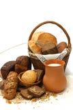 Productos y leche del pan Fotografía de archivo