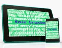 Productos y mercancía de Fairtrade del medio de la tableta del comercio justo stock de ilustración