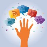 Productos y servicios de la comunicación para el negocio Imagen de archivo libre de regalías