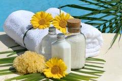 Productos y toallas del balneario por la piscina Imágenes de archivo libres de regalías