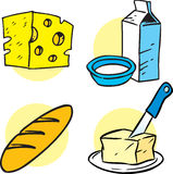 Products. The illustration shows several items products. Illustration is presented in cartoon style on separate layers Royalty Free Stock Images
