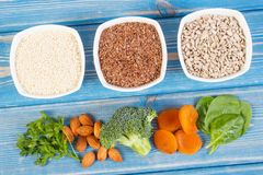 Products as source calcium and dietary fiber, healthy nutrition. Products containing calcium and dietary fiber, natural sources of minerals, healthy lifestyle Royalty Free Stock Image