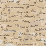 Products from bakery seamless pattern. Names of products from bakery in french language Royalty Free Stock Photo