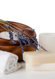 Products for bath, SPA, wellness and hygiene,. Products for bath, SPA, wellness and hygiene: natural soap, lavender, sea salt, candles and a towel, close-up Stock Photography