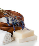 Products for bath, SPA, wellness and hygiene,. Products for bath, SPA, wellness and hygiene: natural soap, lavender, sea salt, candles and a towel, close-up Royalty Free Stock Photo