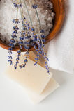 Products for bath, SPA, wellness and hygiene. Natural soap, lavender, sea salt, candles and a towel, close-up Stock Photography