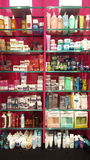 Products for beauty, body care and make-up. Perfumes. Shop shelves Royalty Free Stock Image
