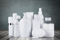 Set of cosmetic products in white containers Stock Image