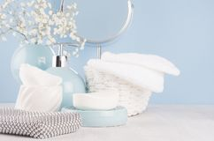 Products for body and skin care in light blue ceramic bowls, silver cosmetic bag, circle mirror and white flowers on wood table. royalty free stock photos