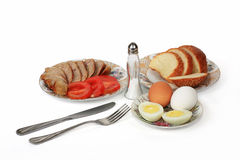 Products for a breakfast. The breakfast prepared from meat and eggs provides feeling of saturation till a dinner Royalty Free Stock Photo