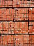 Products brick manufactory. Just made red bricks stacked in several rows for sale stock images