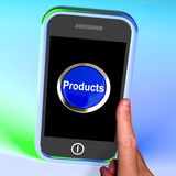 Products Button On Mobile Shows Internet Shopping Goods Royalty Free Stock Photo