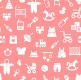 Products for children, background, seamless, pink. Stock Photo