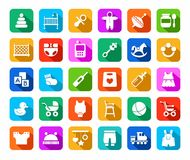 Products for children, colored flat icons. Stock Photos