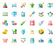 Products for children, colored icons, flat. Stock Photography