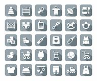 Products for children, gray, flat icons. Stock Images