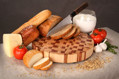 Products on a chopping board Royalty Free Stock Photography
