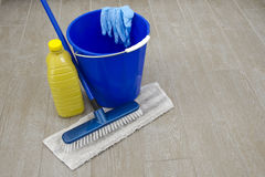 Products for cleaning. Some products for cleaning house ground stock photography